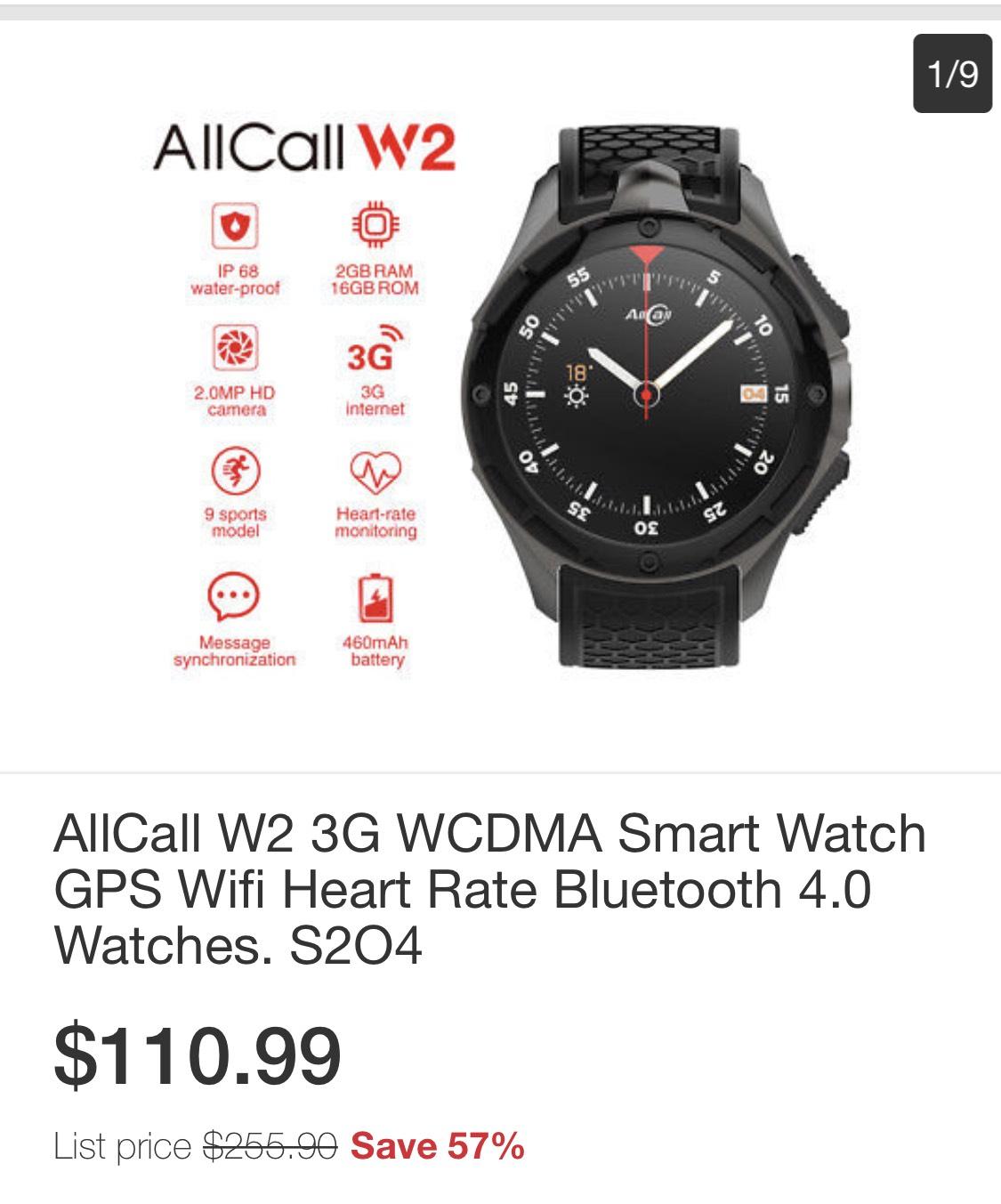 AllCall W2 3G WCDMA Smart Watch GPS Wifi