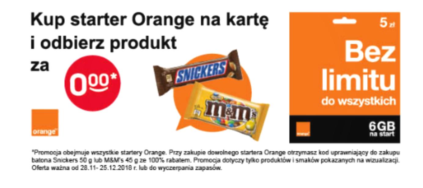 Kup dowolny starter Orange na kartę i odbierz Snickers 50g lub M&Ms 45g za 0zł.