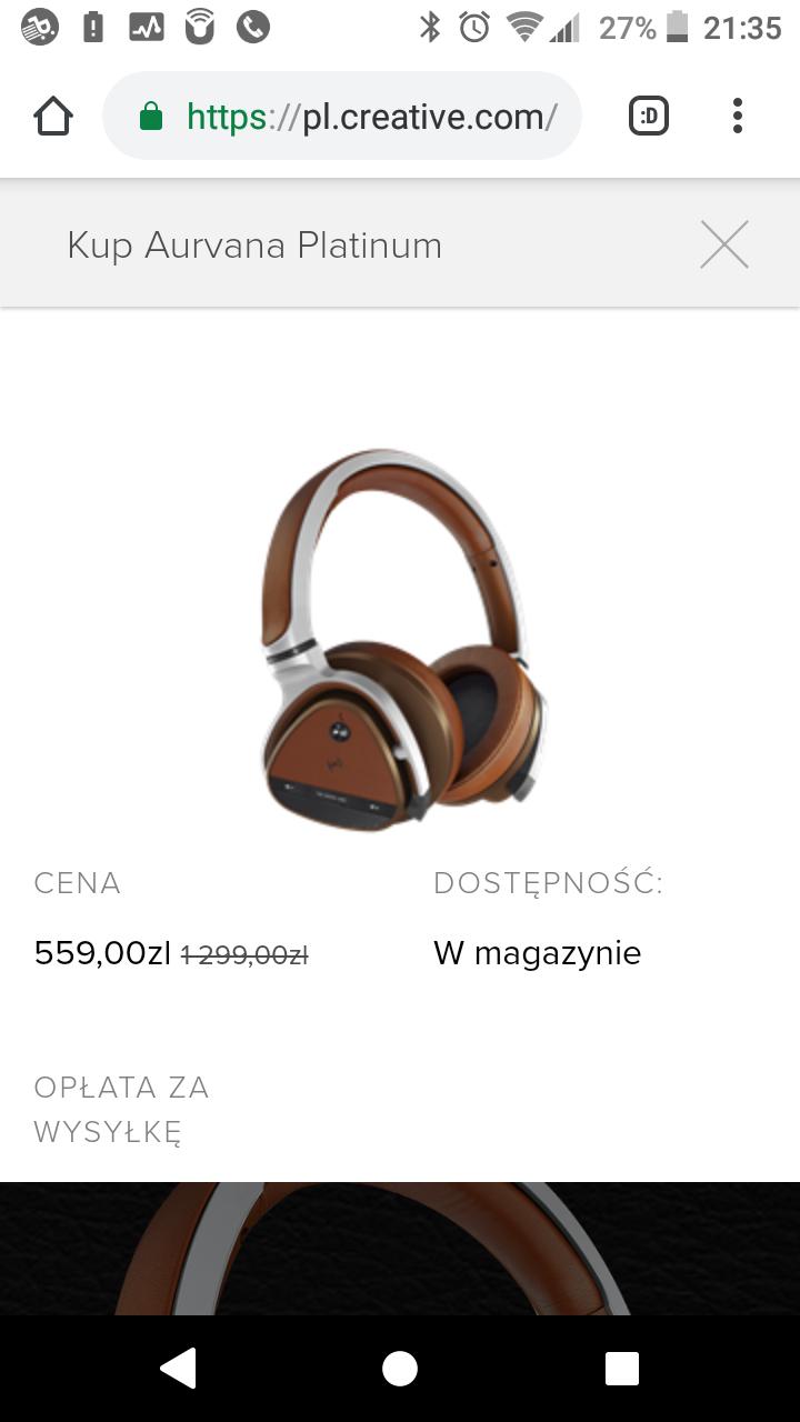 (PL) Słuchawki bluetooth Creative Aurvana Platinum aptx anc