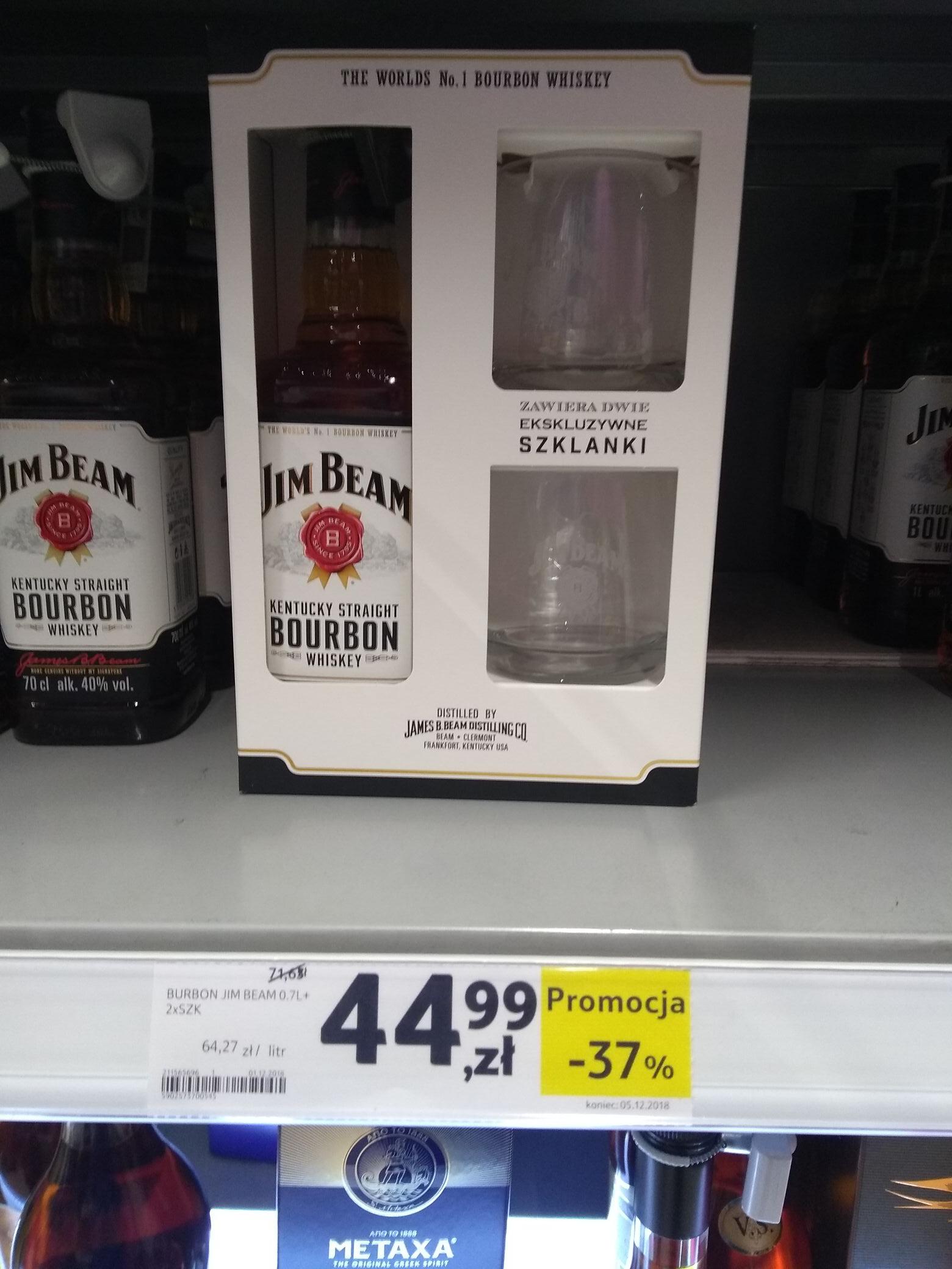 Oferta do 01.01.2019 ! Jim Beam 0.7 + 2 szklanki. Goły 1l w cenie 49.99 Tesco