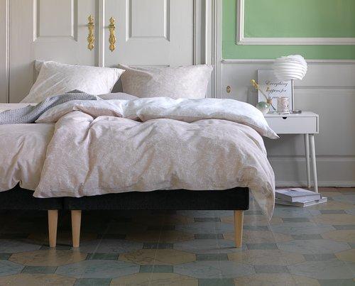 JYSK Pościel DANA 160x200 / 2x70x80/90 cm - różowa i beżowa, bawełna 100%