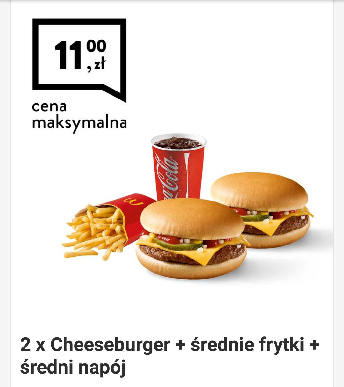 McDonald's kupon 2 x cheeseburger + średnie frytki + średni napój (Kupony do 9 grudnia)