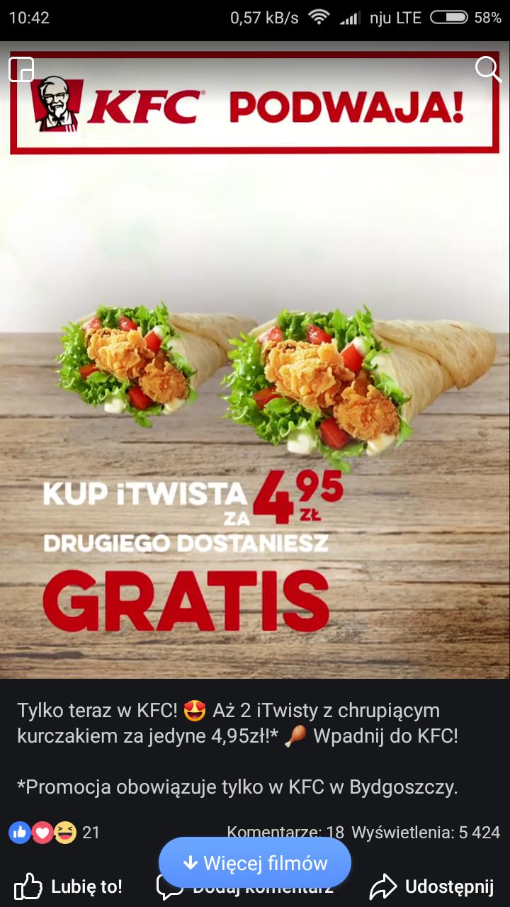 KFC itwist za 4,95 plus drugi gratis (Bydgoszcz)