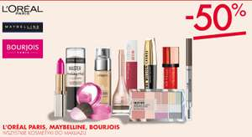 -50% na kosmetyki do makijażu Bourjois, L'Oreal Paris, Maybelline + kupony na kolejne zakupy @ Super-Pharm