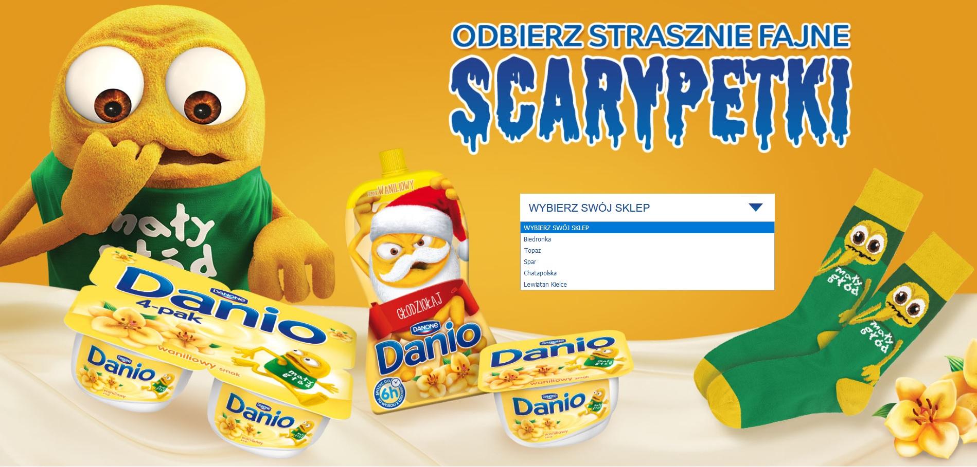 """Kup Danio i odbierz """"strasznie fajne scarypetki"""" @ Biedronka, Topaz, Spar, Chata Polska, Lewiatan"""