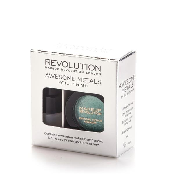 Makeup Revolution Zestaw Awesome Metals Foil Finish Metaliczny cień do powiek + Podkład Emerald God