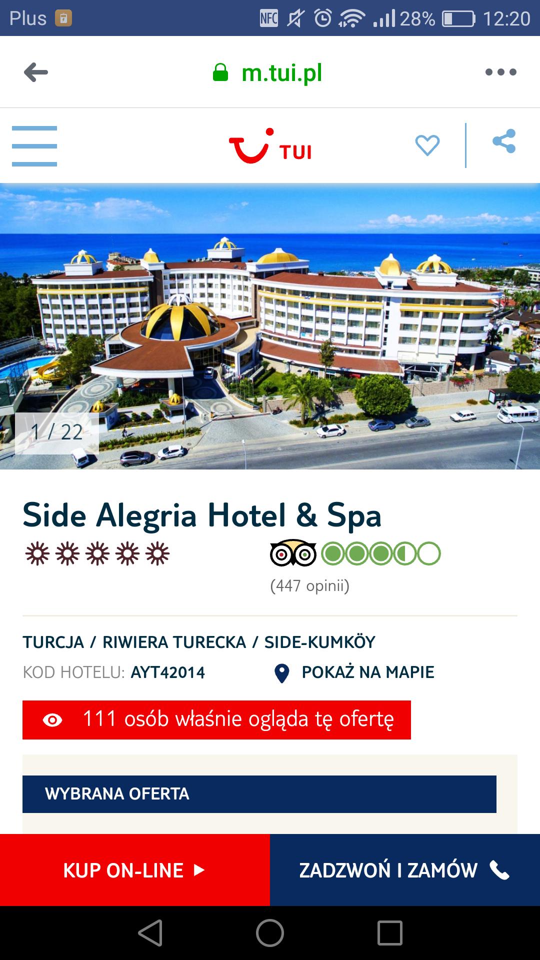 Turcja hotel 5* all inclusive na tydzień od TUI