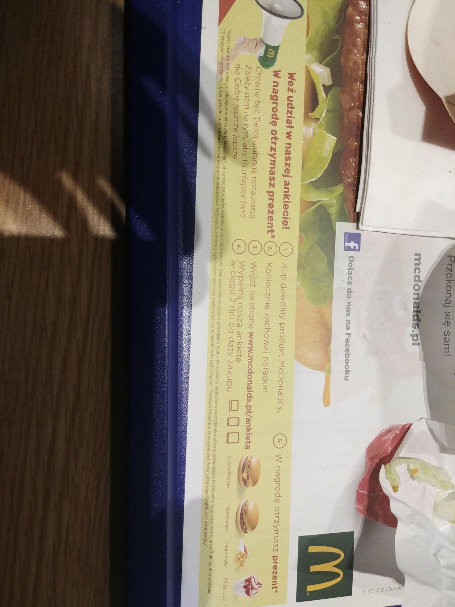 Mcdonald zachowaj paragon kanapka lub frytki lub lody za darmo