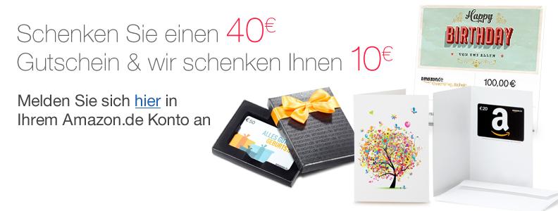 Kup kartę podarunkową o wartości 40 euro, a otrzymasz dodatkowy kupon -10 euro GRATIS @ Amazon.de