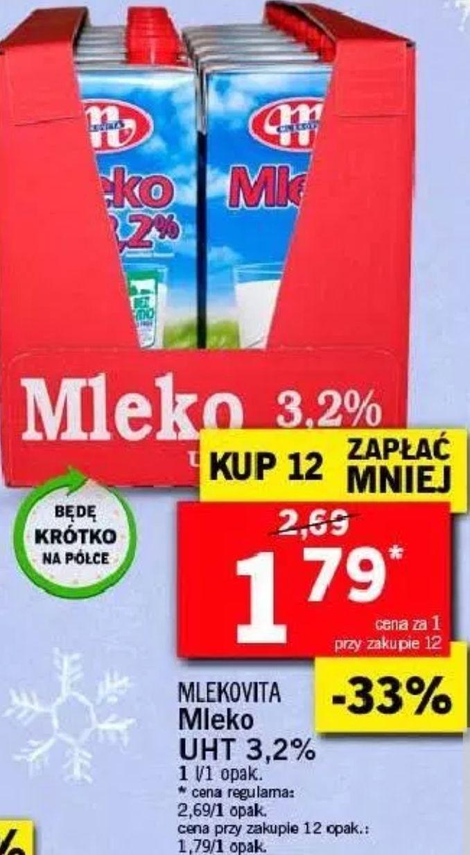 12x mleko UHT Mlekovita 3,2% (1,79 zł za 1) @ Lidl