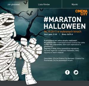 Bilety po 26zł /29zł na Maraton Halloween (30.10.) @ Cinema City