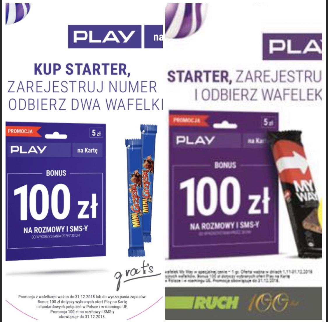 Kup starter Play 5zl na kartę i odbierz wafelek za 1gr+100 zł na połączenia i smsy
