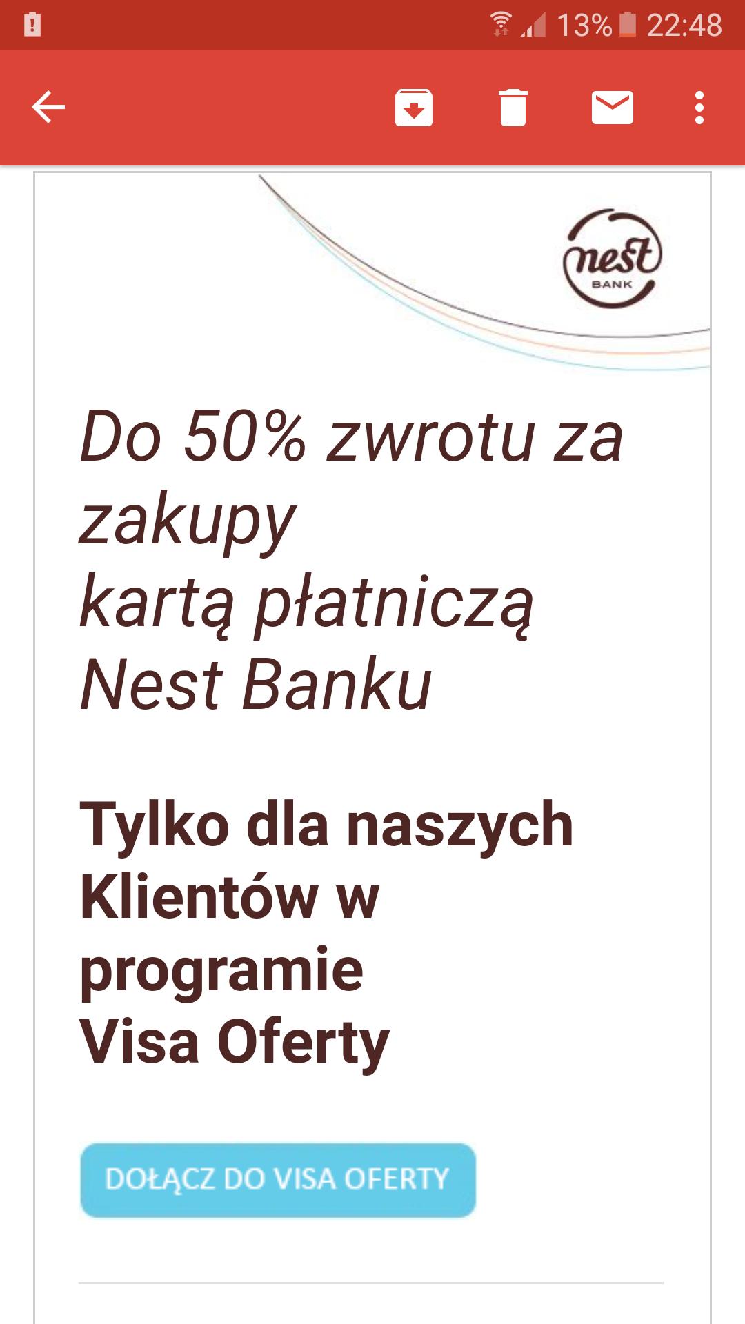 Do 50% zwrotu za zakupy  kartą płatniczą Nest Banku