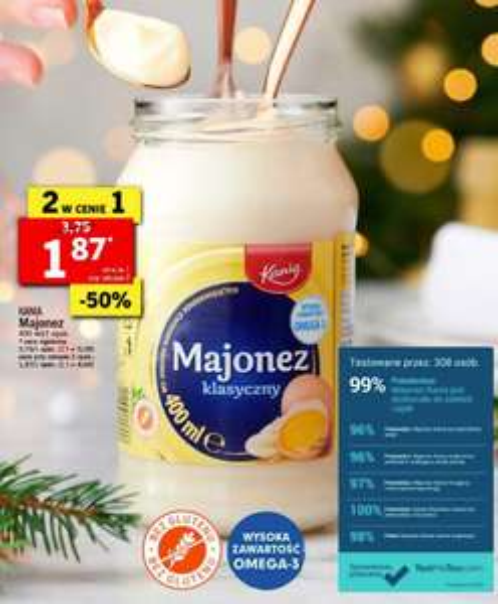 MAJONEZ Kania 400 ml 2 w cenie 1 -50% SMAK POLSKICH ŚWIĄT. LIDL