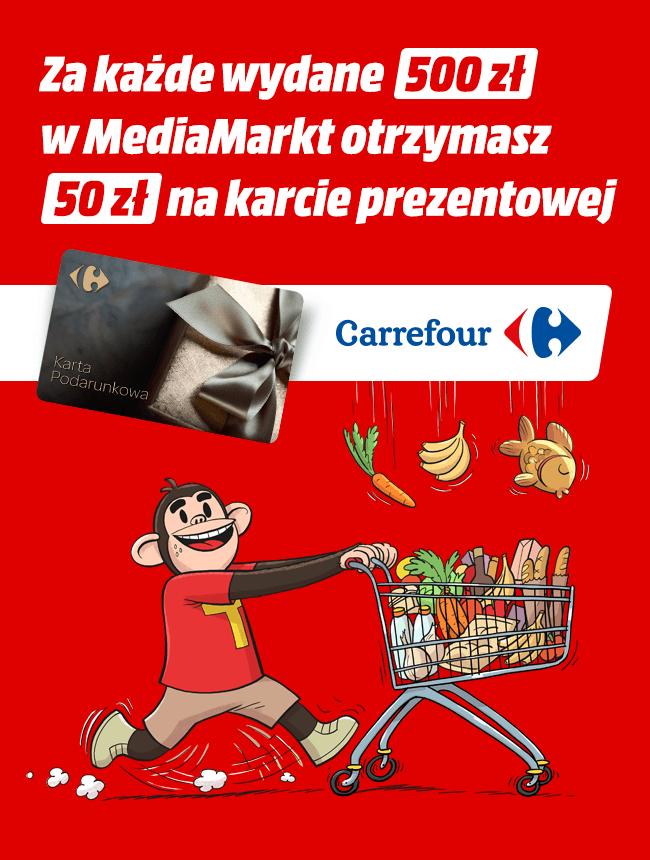 50 zł do wydania w Carrefour za każde 500 zł wydane w Media Markt