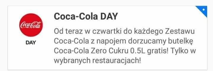 W czwartki Coca-cola zero za darmo w pizza portal do wybranych restauracjach