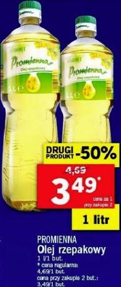 2x olej rzepakowy Promienna 1L (3,49 zł za 1) @ Lidl