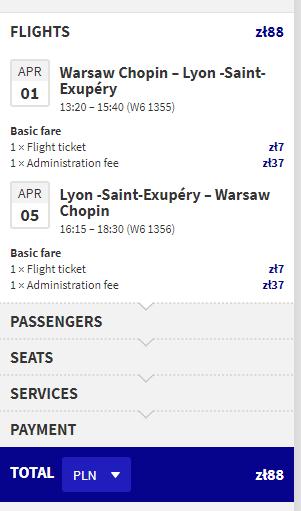 Tani lot Warszawa-Lyon-Warszawa, 5 dni w kwietniu (z WDC 88 PLN)