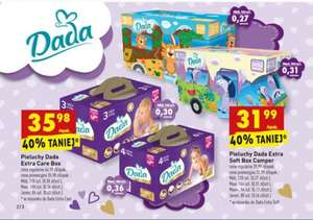 "Biedronka Pieluchy ""Dada Extra Soft Box Camper"" i  ""Dada Extra Care Box"""