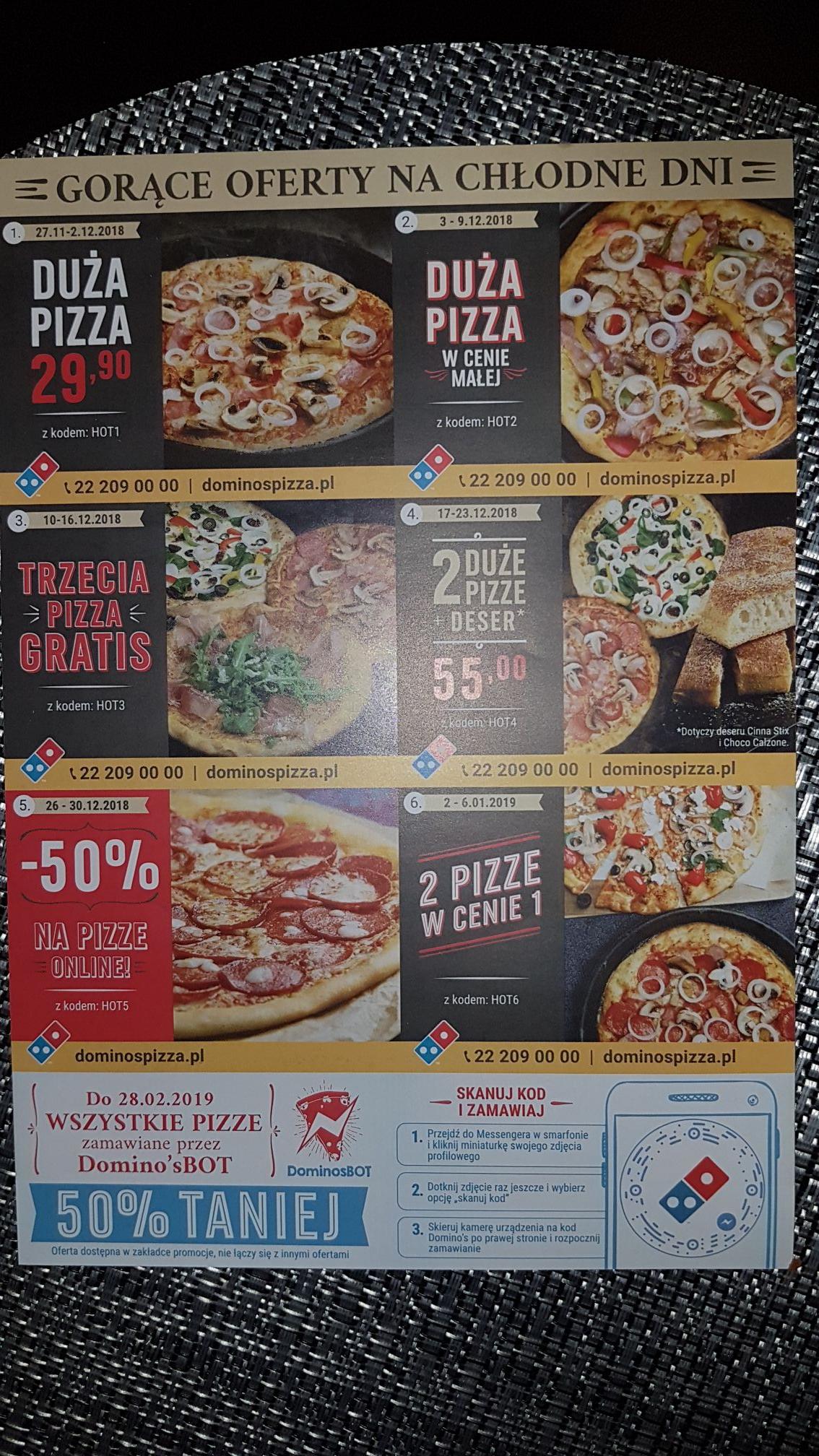 Domino's Pizza kody rabatowe do wykorzystania.