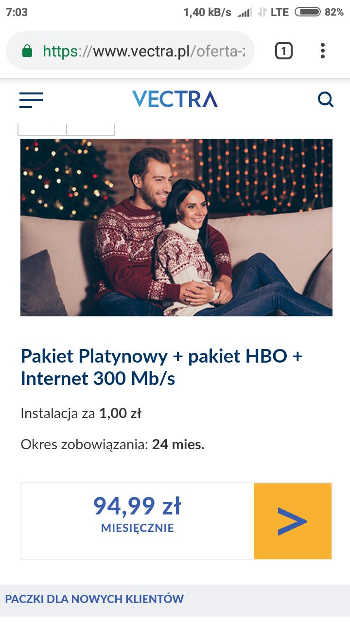 VECTRA OFERTA ZIMOWA Pakiet Platynowy + pakiet HBO + Internet 300Mb/s