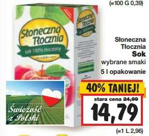 Naturalne soki Słoneczna Tłocznia jeszcze taniej - 14,79zł/5L @ Kaufland