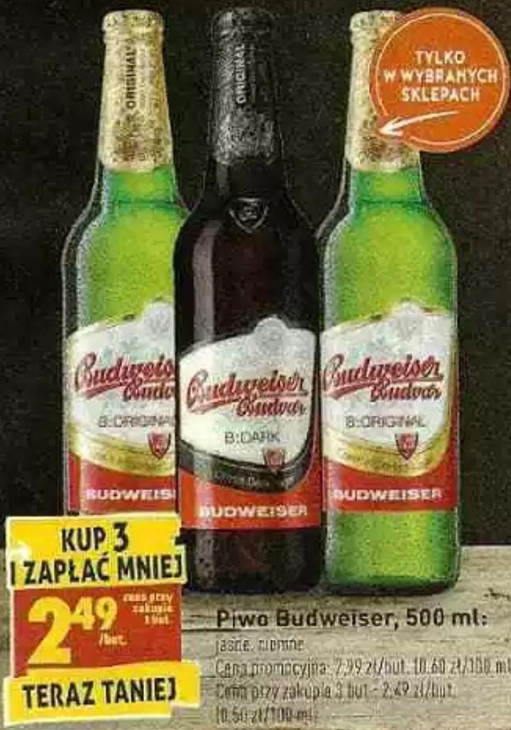 3x piwo Budweiser: Original i Dark (2,49zł za 1) @ Biedronka