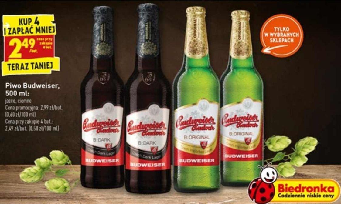 4x piwo Budweiser: Original i Dark (2,49zł za 1) @ Biedronka