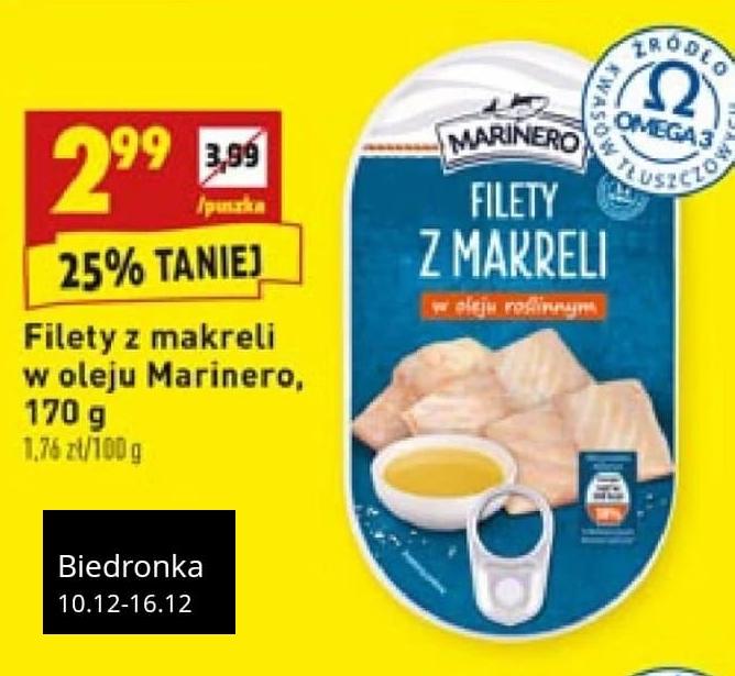 Filety z makreli w oleju roślinnym (170 g) - Marinero Biedronka 25% taniej