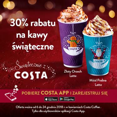 -30% na świąteczne kawy z kuponem w aplikacji @ Costa Coffee