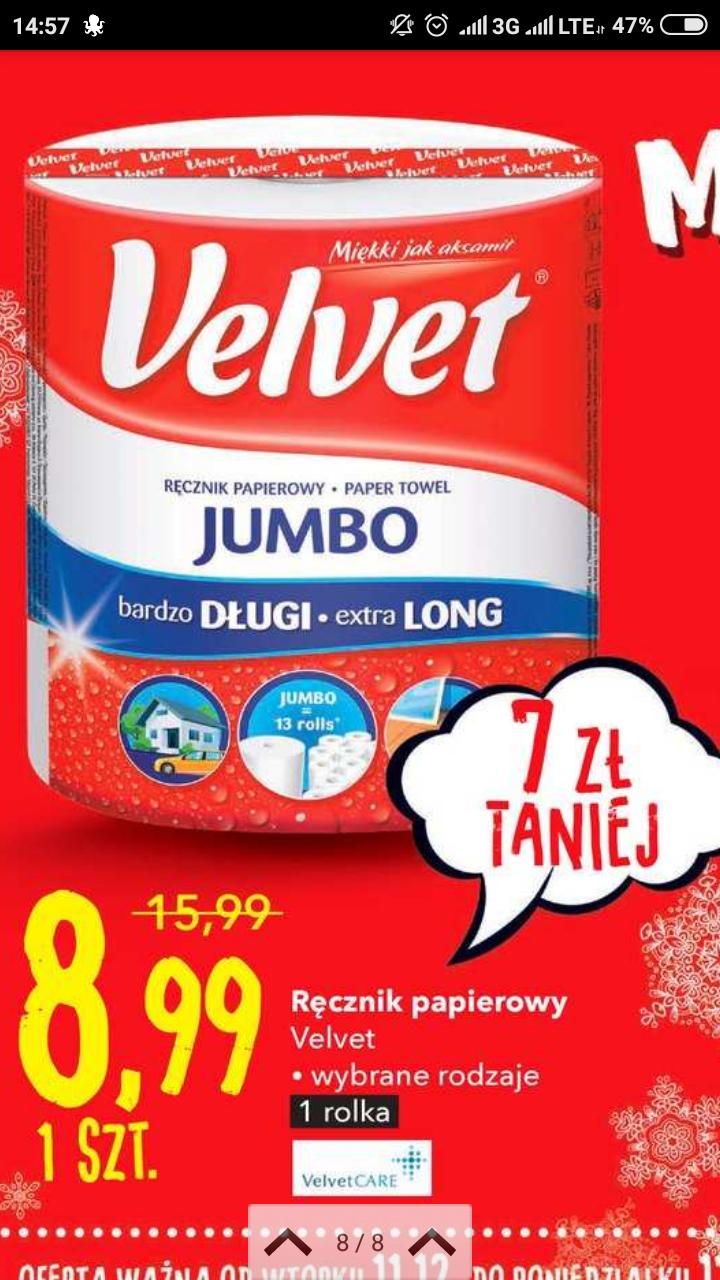 Ręcznik papierowy Velvet Jumbo 9,99 @Intermarche Intermarche