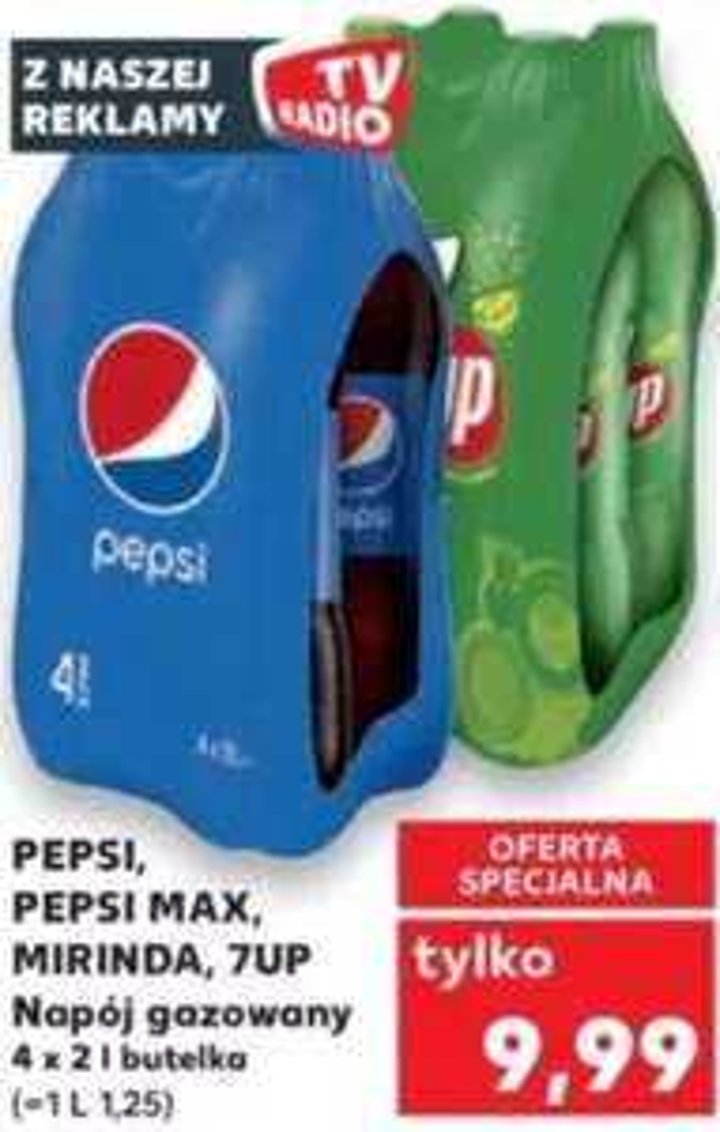 4x 2L Pepsi, Pepsi Max, Mirinda, 7Up (1,25zł/L) @ Kaufland