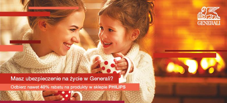 -40% na zakup w sklepie Philips na asortymentdla posiadaczy polis Generalii