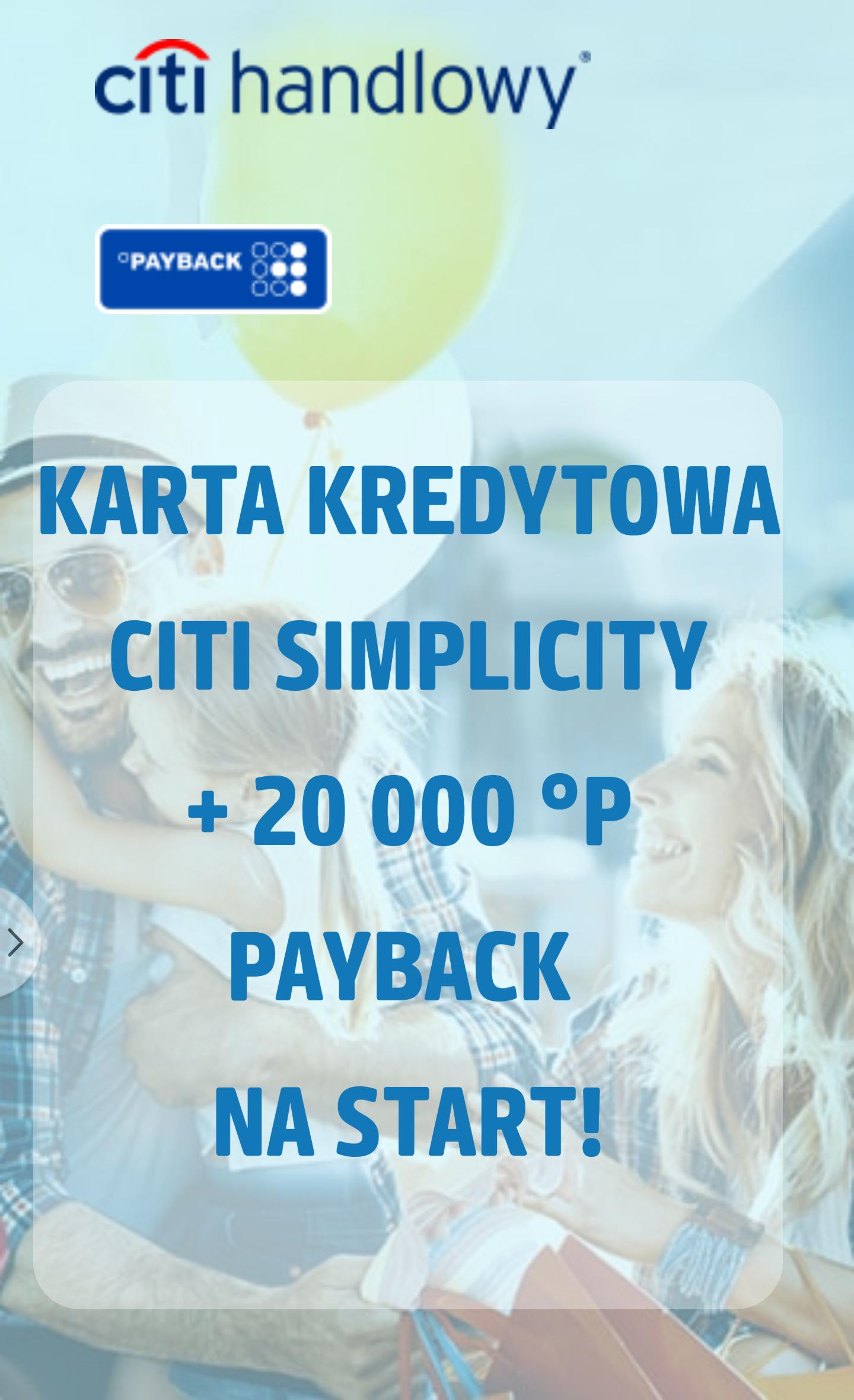 Karta kredytowa City Simplicity i 20 000pkt PayBack