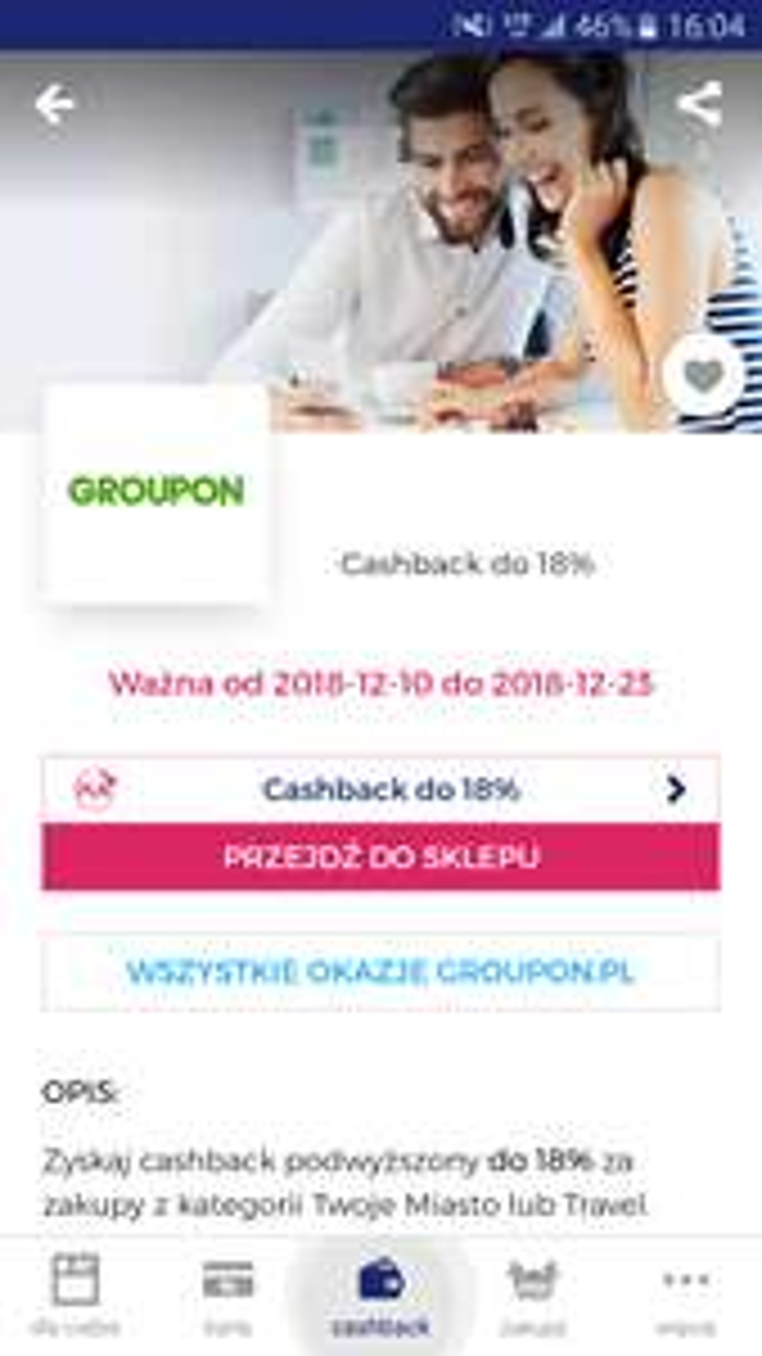 """18% cashback w aplikacji Goodie na GRUPONie na Kategorie """"Twoje miasto i Travel"""""""