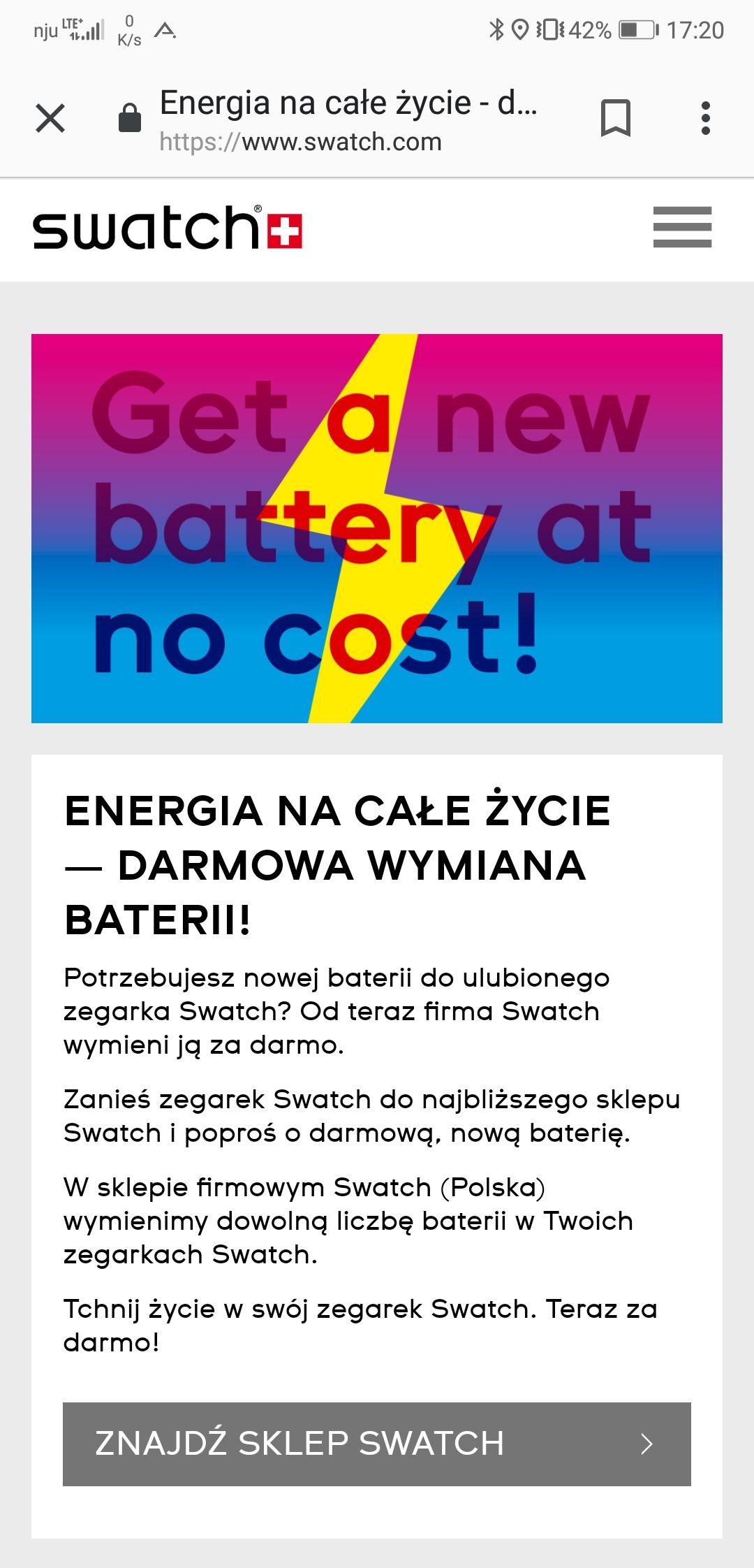 Swatch - wymiana baterii za darmo