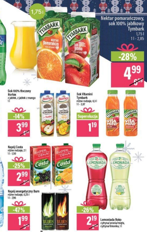 Tymbark 1.75 l nektar pomarańczowy/sok jabłkowy + inne napoje i Burn 0.25 l - 1.99 zł @ Mila