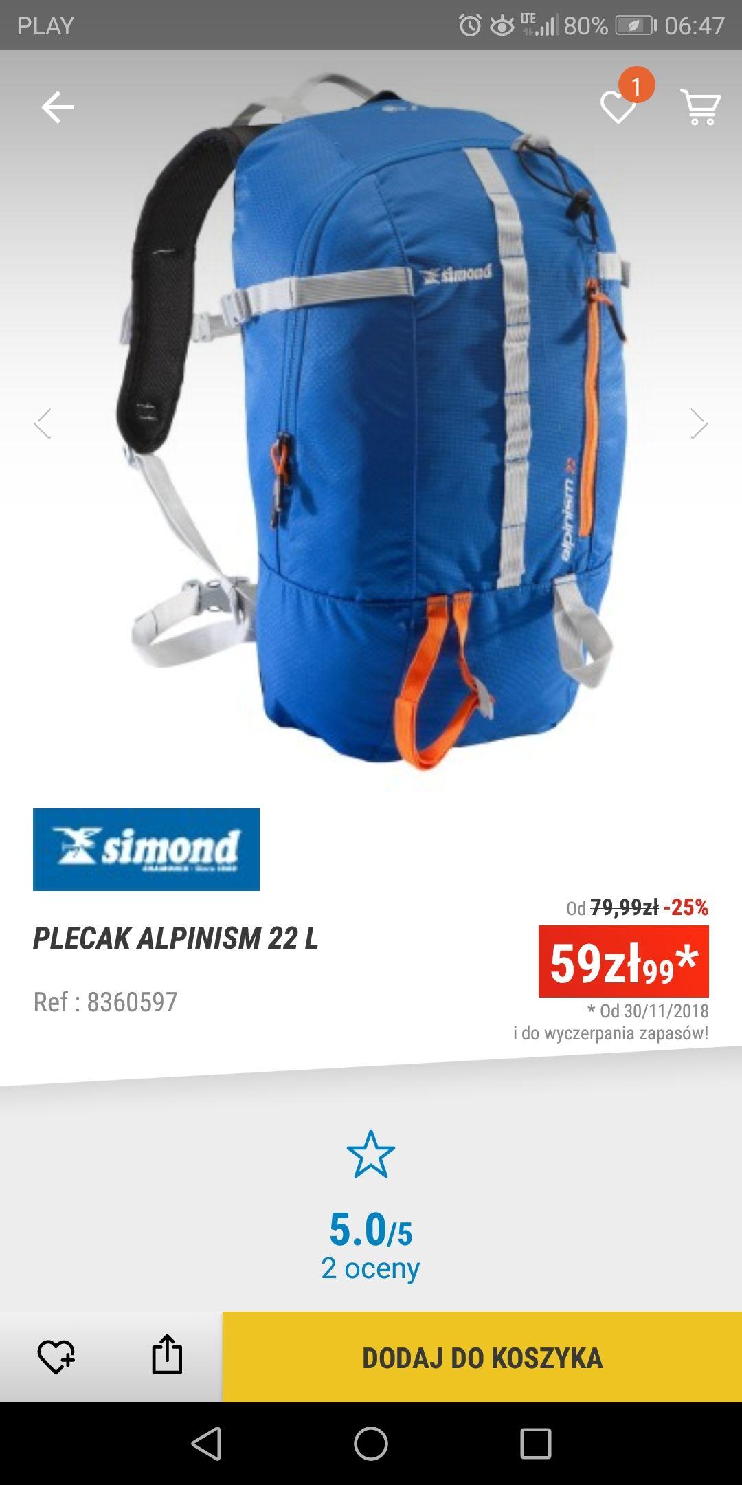 Plecak simond alpinism 22l