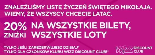 Wizz Air 20% zniżki