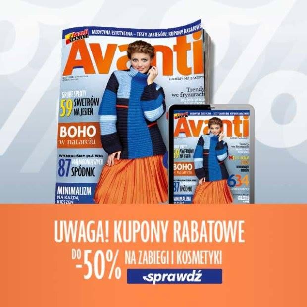 Kupony rabatowe na kosmetyki i zabiegi kosmetyczne @ Avanti