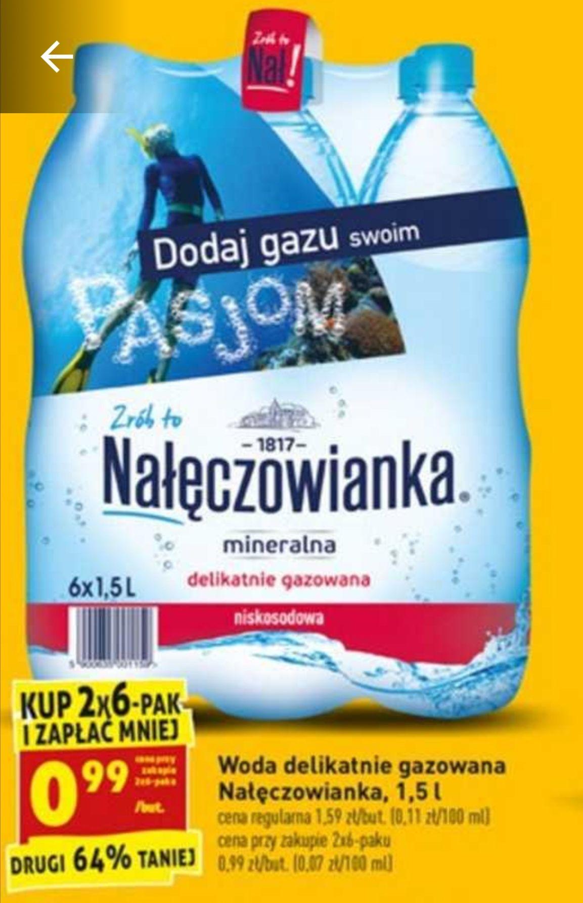 Woda mineralna Nałęczowianka 1,5L 0,99 PLN/butelka (0,70 PLN/litr) @Biedronka