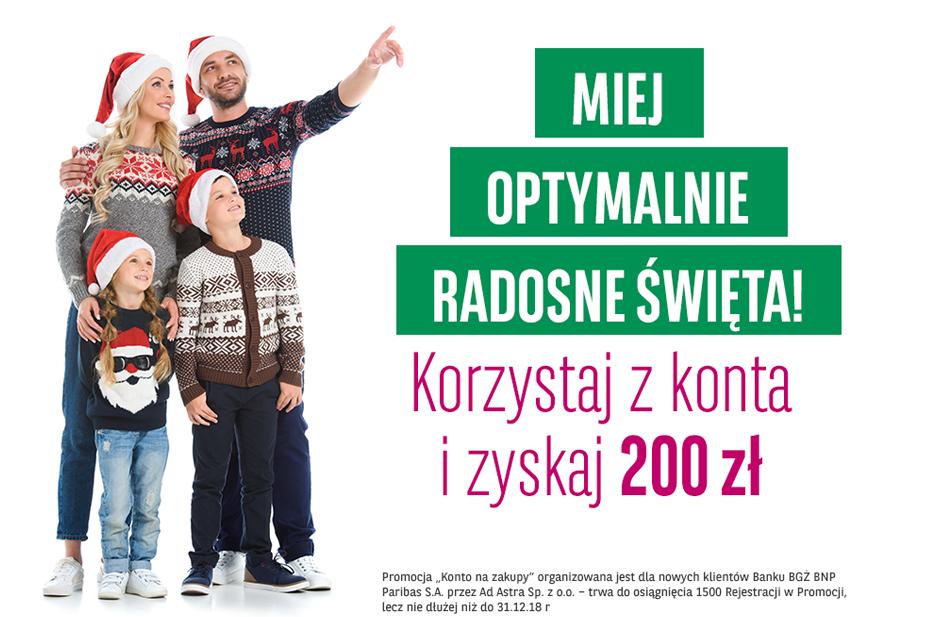 """200 zł premii za Konto Optymalne w BGŻ BNP Paribas w promocji """"Konto na zakupy"""""""