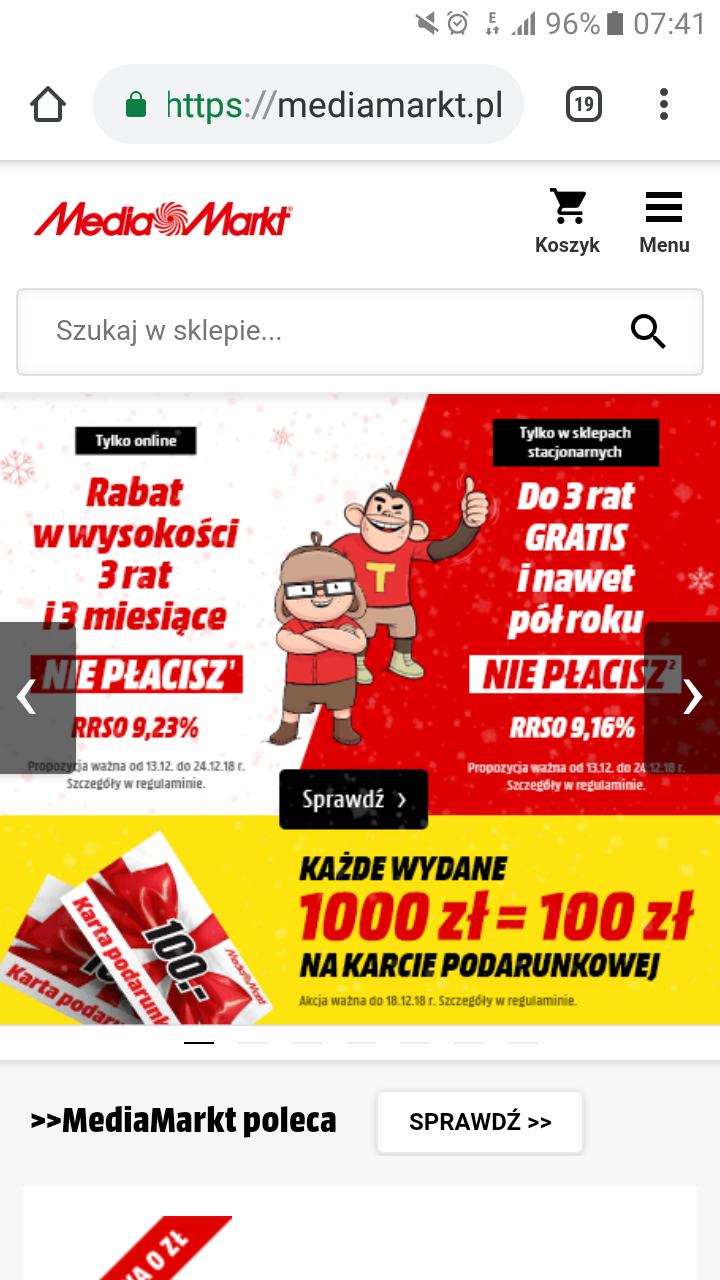 Mediamarkt 100 zł na karcie podarunkowej za każde wydane 1000 zł  (na  wybrane produkty 6b6cdb27cc6