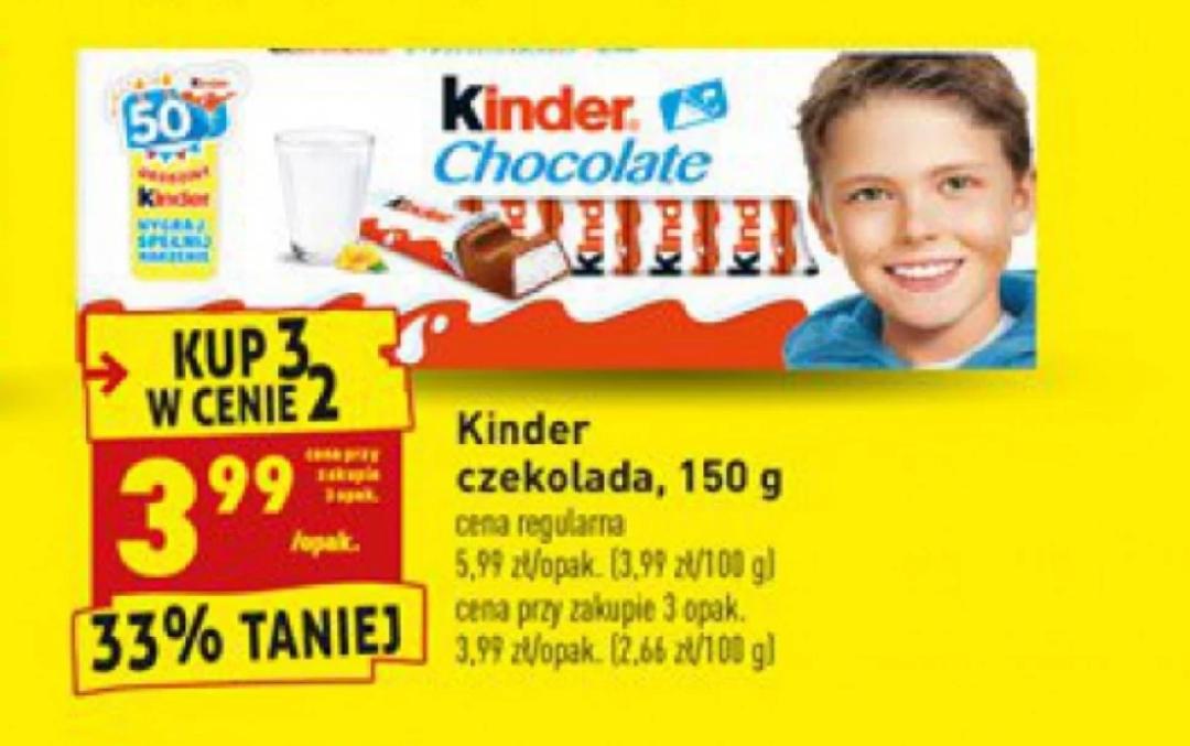 Kinder czekolada 150 g w dobrej cenie. Biedronka