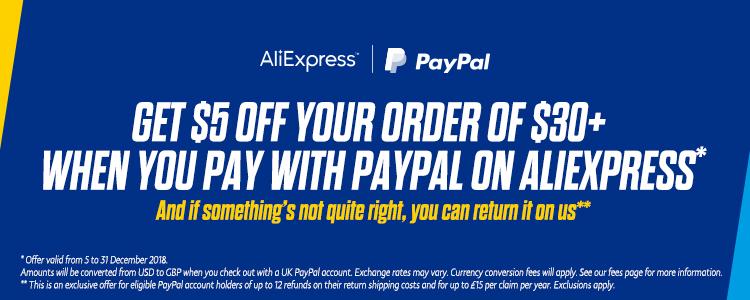 AliExpress 5$ zniżki przy zamówieniu za min. 30$ przy płatności PayPal
