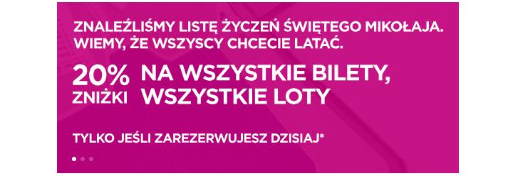 20% zniżki dla wszystkich w wizz air, tylko dziś! 13 grudnia