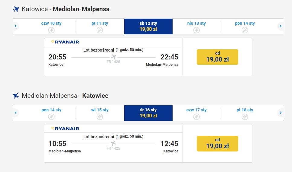 Tanie loty w styczniu do Mediolanu z Katowic w obie strony.