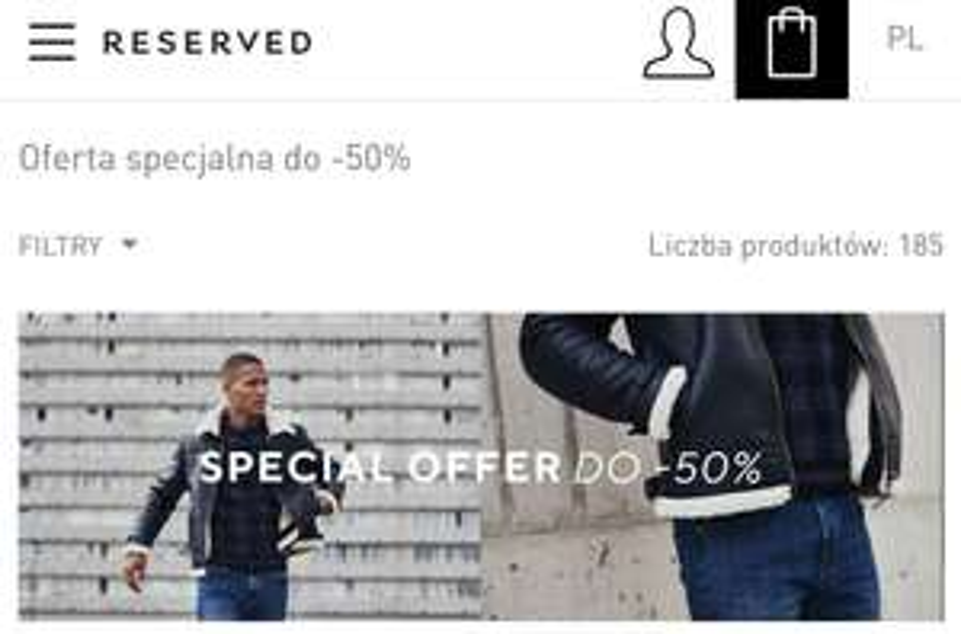 Reserved oferta specjalna do - 50% w dziale dla niego
