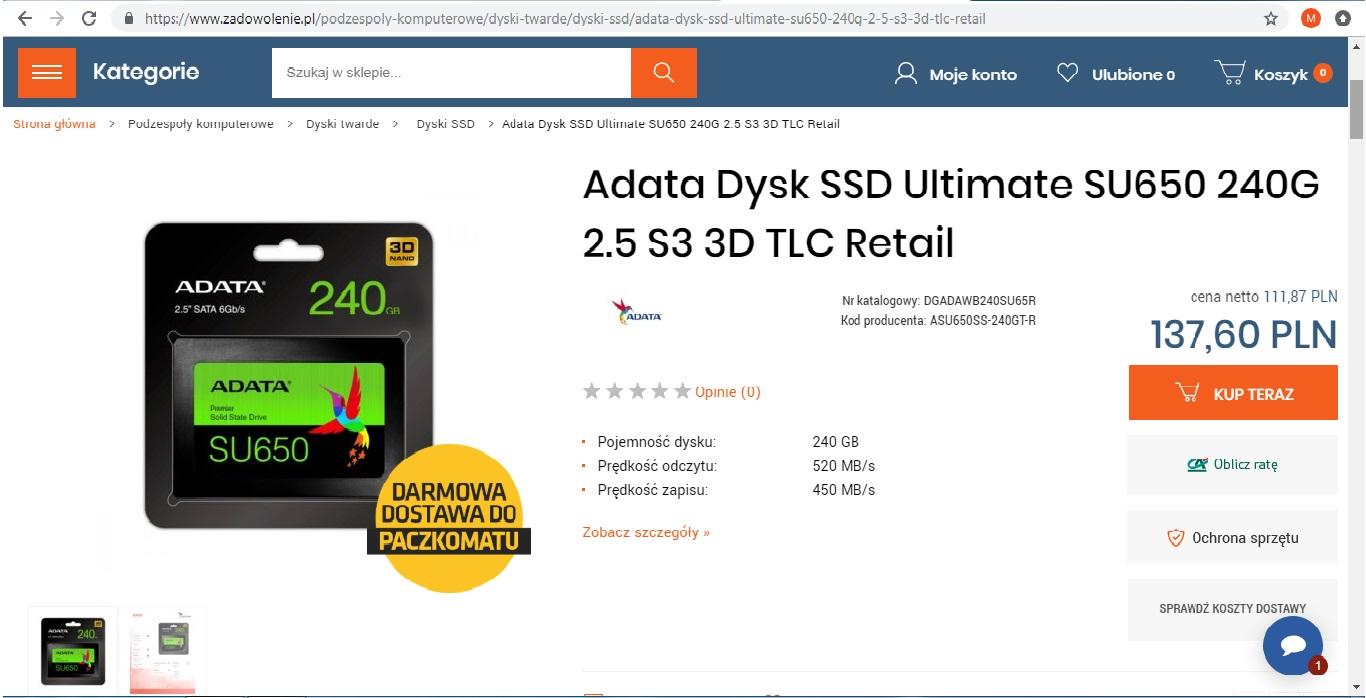 SSD ADATA SU650 240 GB Darmowa wysyłka do paczkomatu !