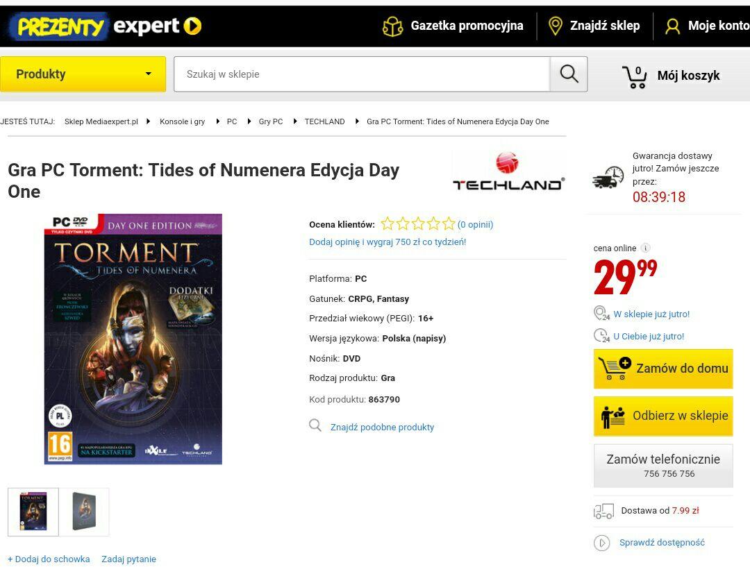 Torment: Tides of Numenera box edycja day one mediaexpert